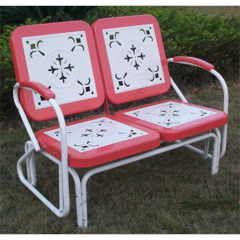 4D Concepts Metal Retro Patio Glider Loveseat In Coral   71550