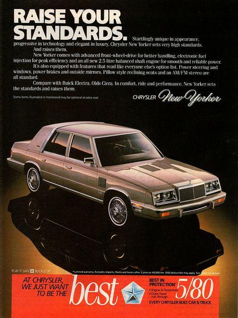 1986 Chrysler New Yorker Turbo Ad Canada Chrysler New Yorker