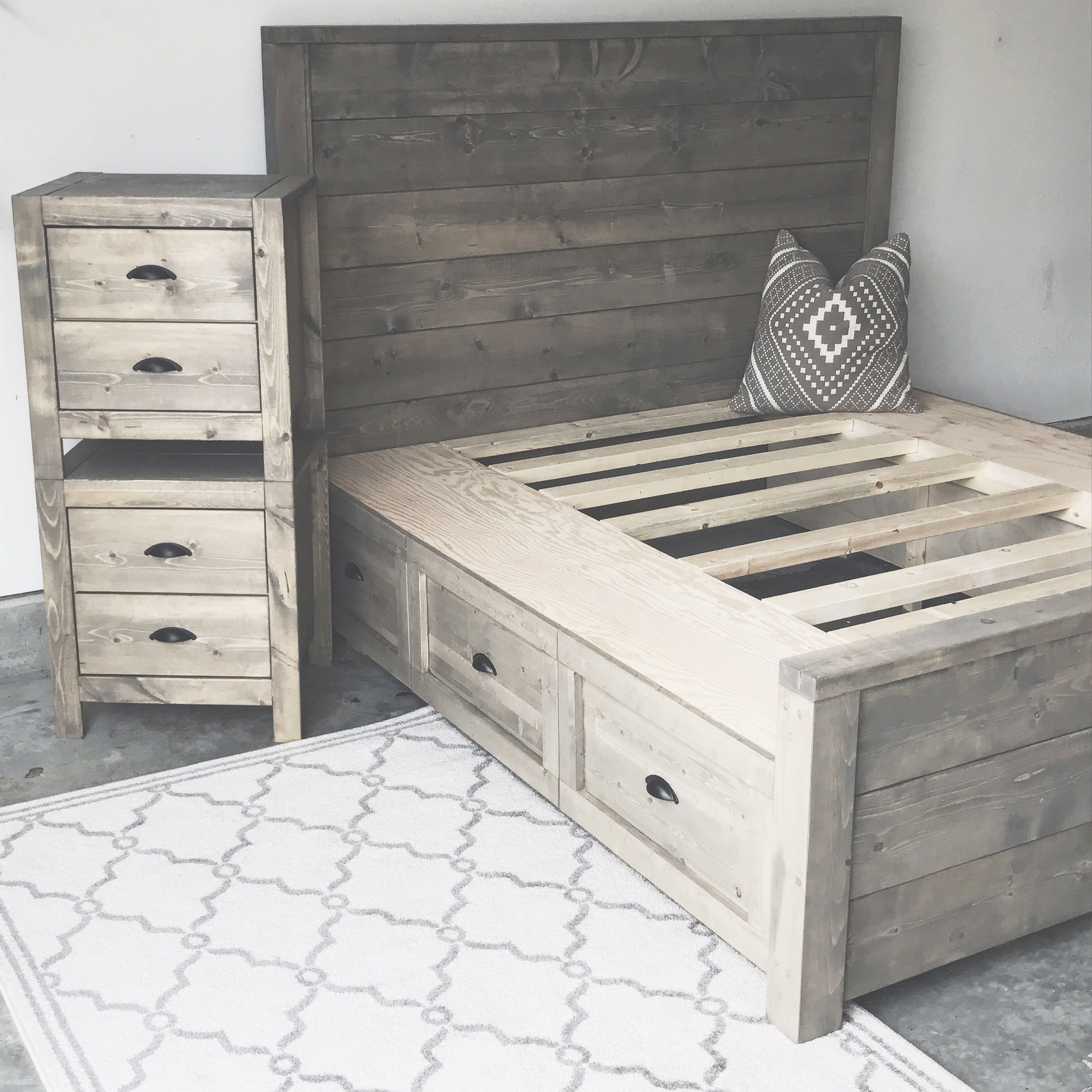 Affordable Contemporary Bedroom Furniture: DIY Storage Bed And Nightstand Oak + Stone In 2019