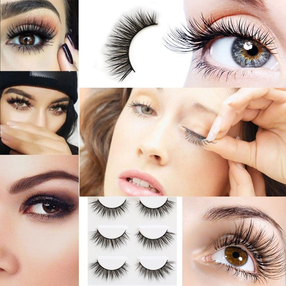 2859488ef71 Women 3 Pair 3D Natural Bushy Cross False Eyelashes Mink Hair Eye Lashes  Black