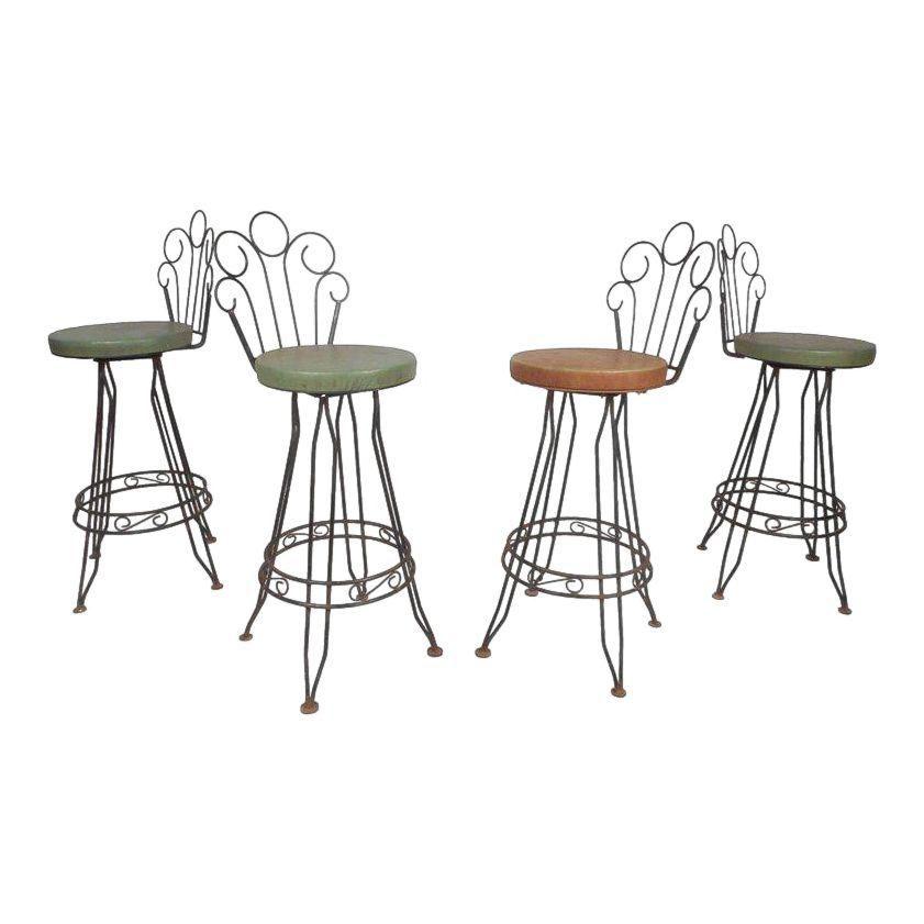 Vintage Modern Italian Wrought Iron Bar Stools Set Of 4 Image 1 Of 11 Bar Stools Wrought Iron Bar Stools Iron Bar Stools