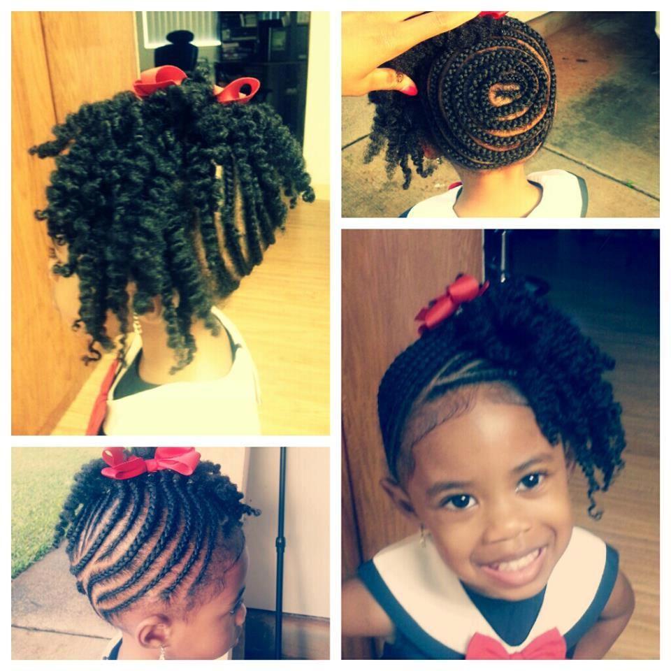 cute spiral design updo hairstyle | natural hairstyles-children
