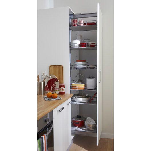 Rangement Coulissant Colonne 6 Paniers 60cm Delinia Meuble Cuisine Colonne De Rangement Cuisine Decoration Petite Chambre