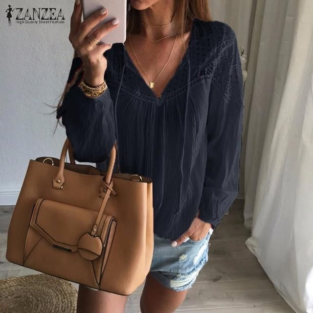 d049a0ed82a ZANZEA Autumn 2018 Women Shirts Casual Loose Patchwork Lace Crochet Blouses  Sexy V Neck Long Sleeve Blusas Tops Plus Size