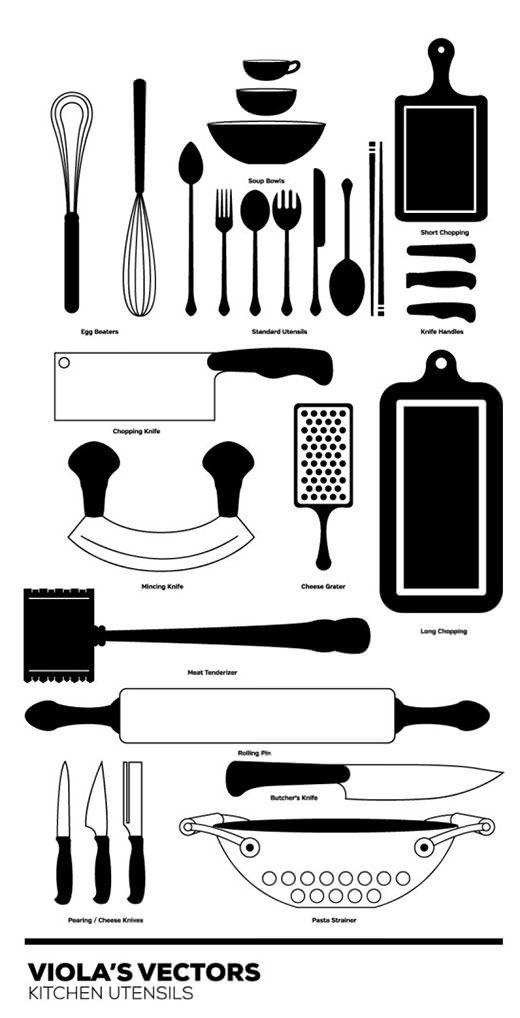 商用可 キッチン料理道具の無料シルエットベクター素材27個セット