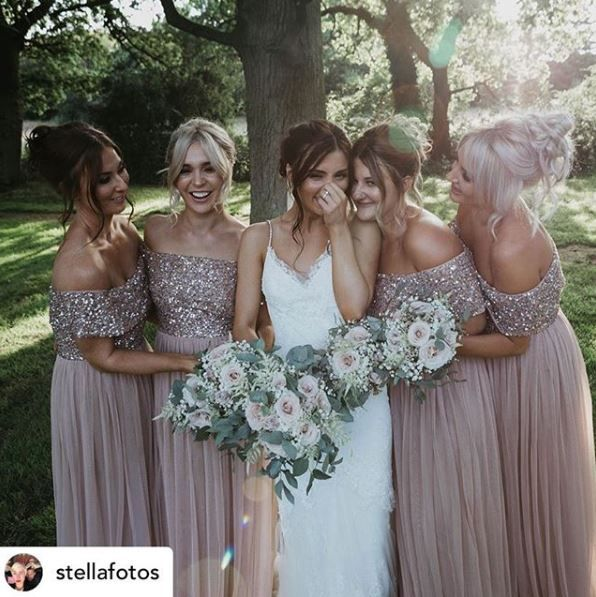 Maya Bridesmaid bardot maxi tulle dress with tonal delicate sequins in taupe blush – Dress