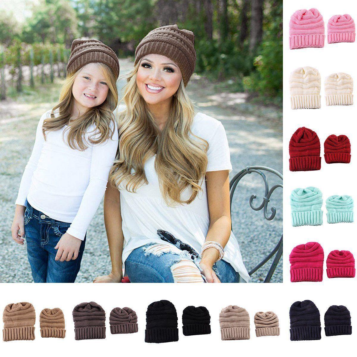 7d51fe44316 2Pcs Women Mom Mother Baby Child Warm Winter Knit Beanie Hat Crochet Ski  Cap Set