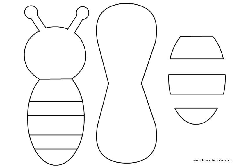 Sagome lavoretto ape ladybug bumblebee pinterest for Bee finger puppet template