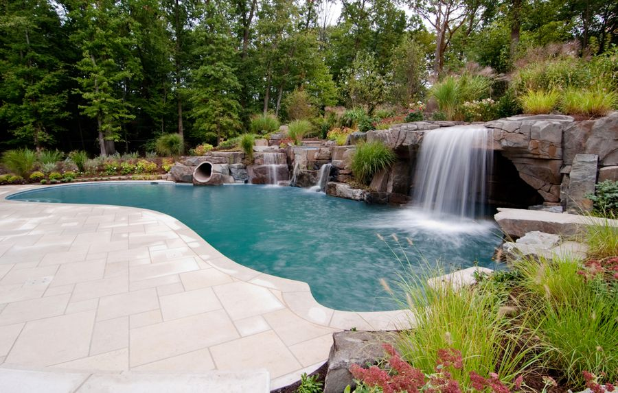 Luxury Inground Swimming Pool Waterfalls, Custom Design Ideas NJ ...