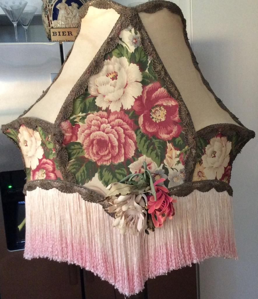 Large antique floor lamp shade victorian pink burgundy floral rose large antique floor lamp shade victorian pink burgundy floral rose fabric fringe in collectibles lamps mozeypictures Images