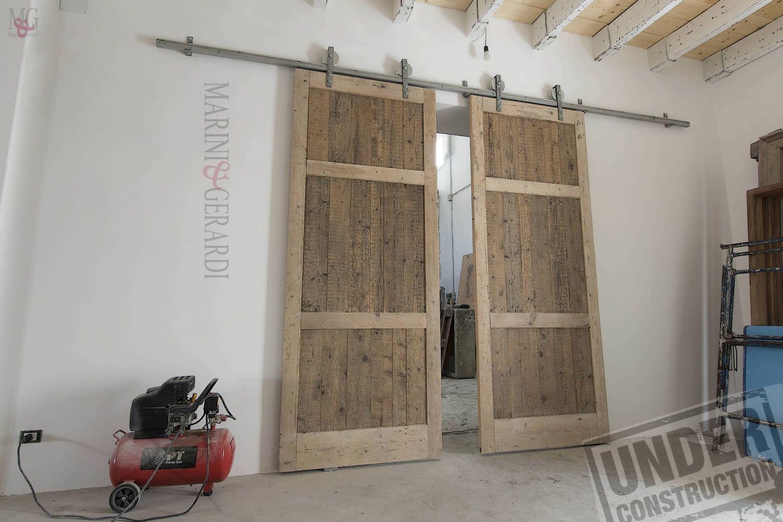 Sliding door industrial loft grande Porta scorrevole a due ante ...