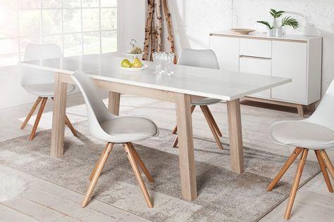 Ausziehbarer Design Esstisch STOCKHOLM weiß 140-190 cm Eiche Sonoma