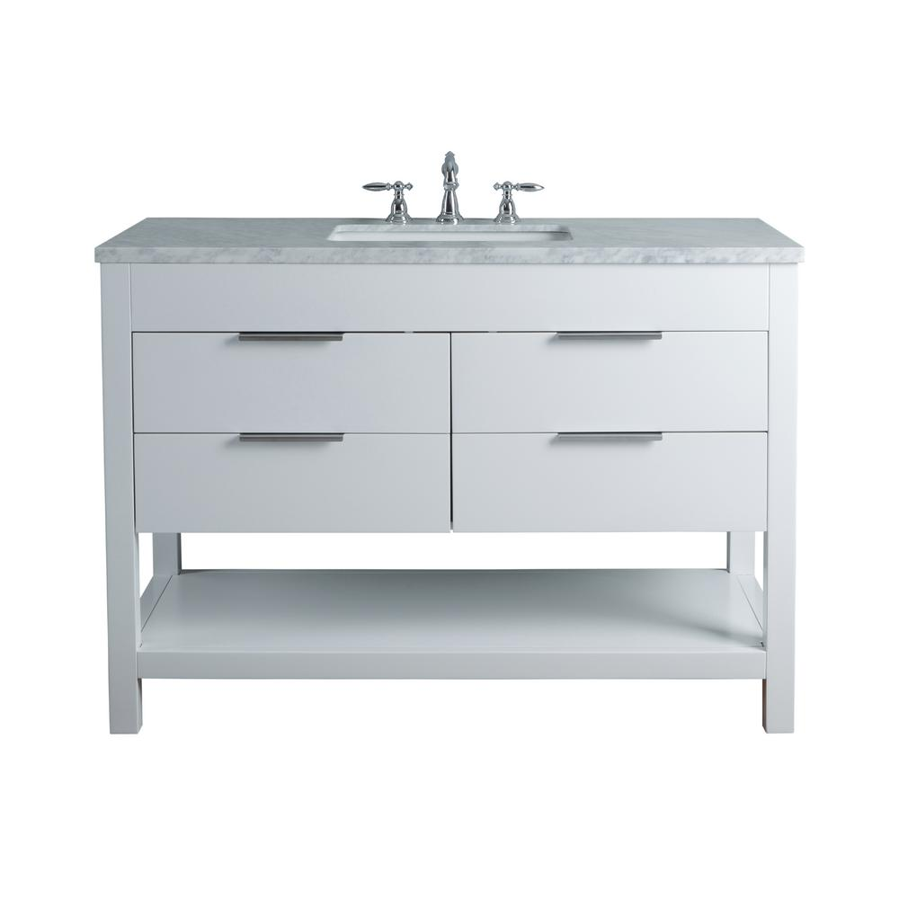 Stufurhome Rochester 48 In White Single Sink Bathroom Vanity With