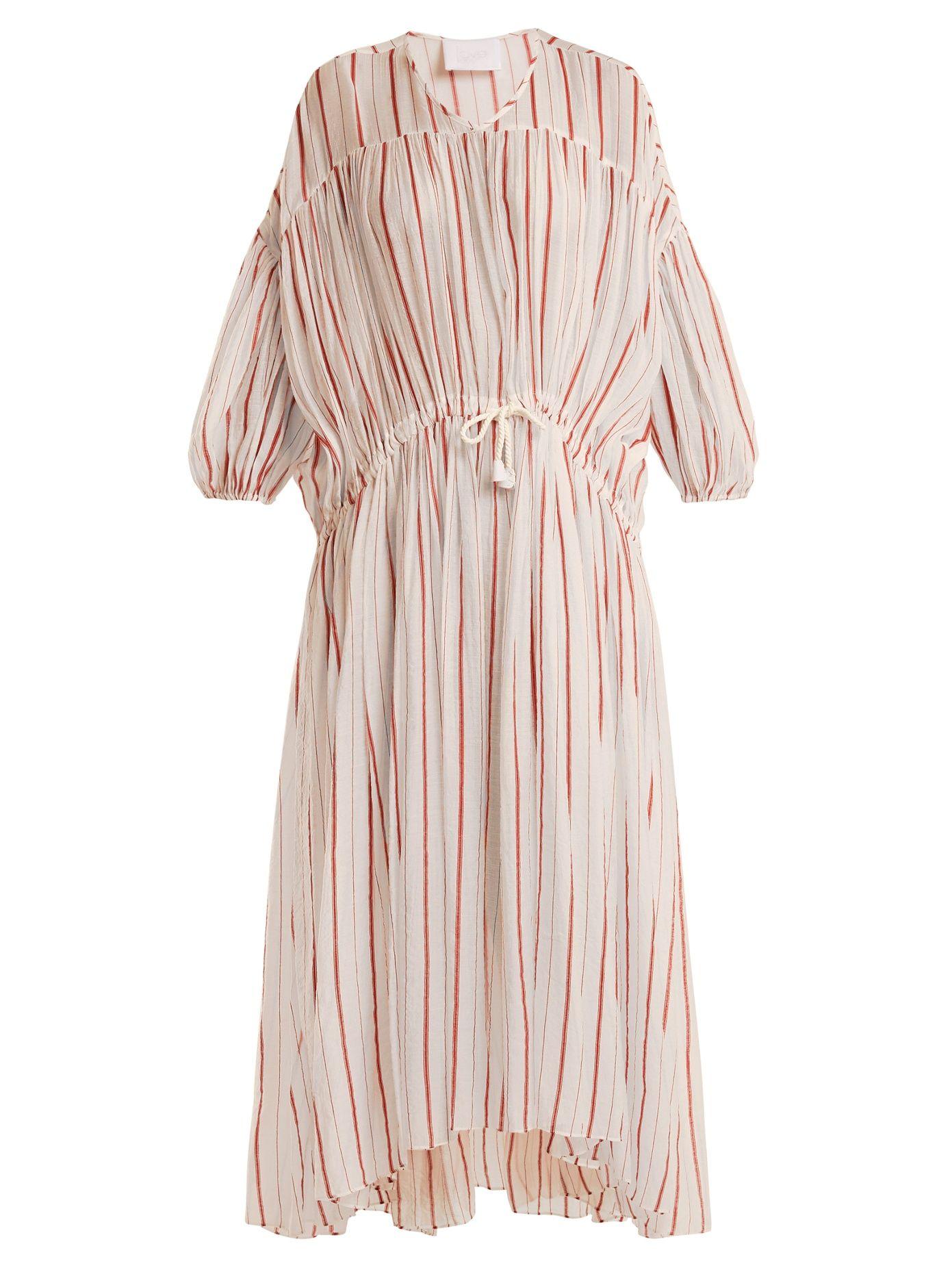 Drawstring-waist striped cotton dress Love Binetti swIER3T6
