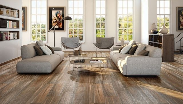 wohnzimmer bodenfliesen holz optik graue sofas Interior