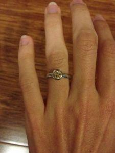 Engagement Ring On Finger Image By Ethical Jewellery Australia Bezel Set Cognac Diamond Eng Engagement Rings On Finger Engagement Ring On Hand Ethical Jewelry