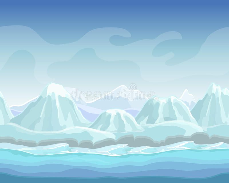 Download Cartoon Winter Landscape With Snow Mountains Seamless Vector Nature Background For Games Polar Environm Winter Landscape Nature Backgrounds Landscape