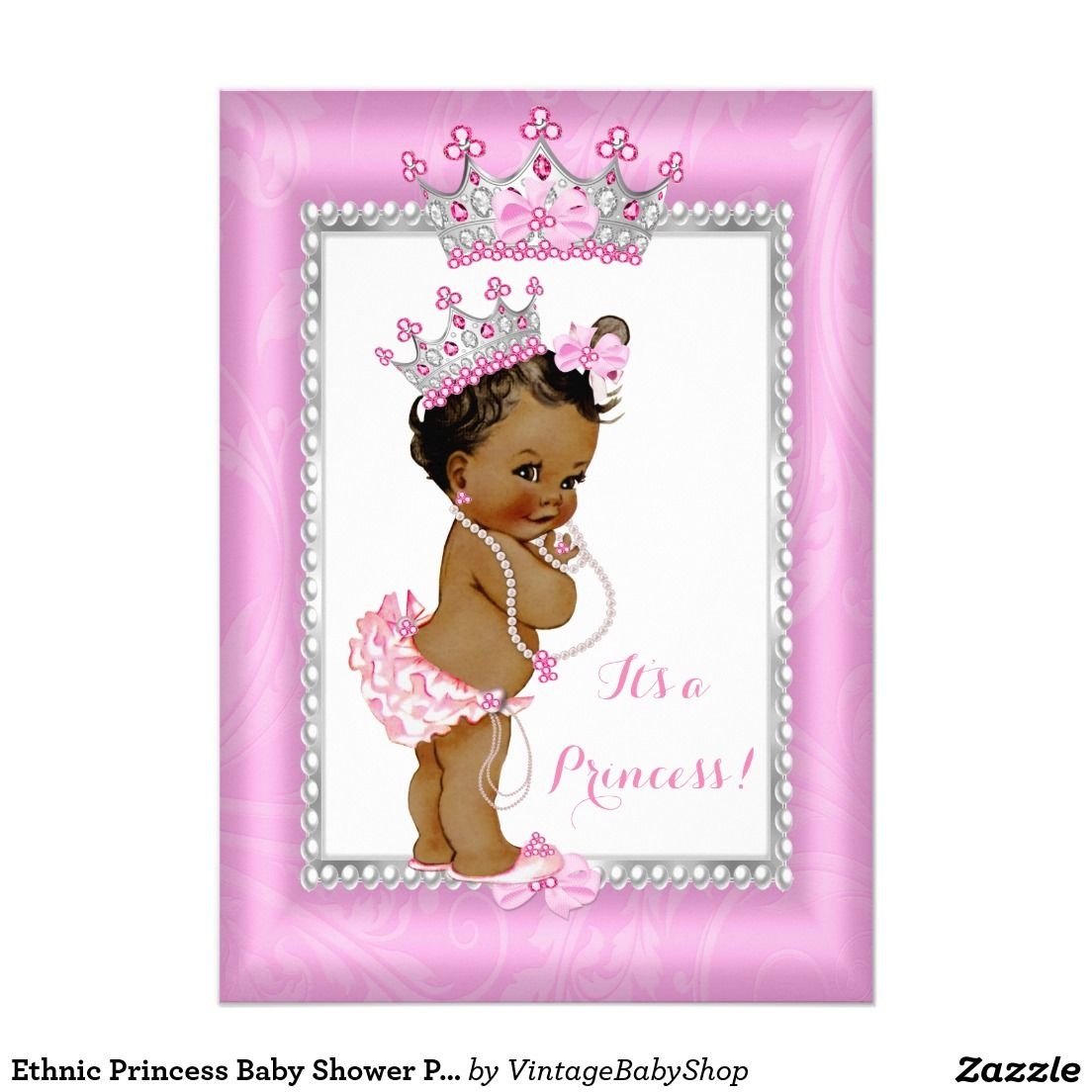 ethnic princess baby shower pink gold chair card | pink, Baby shower invitations