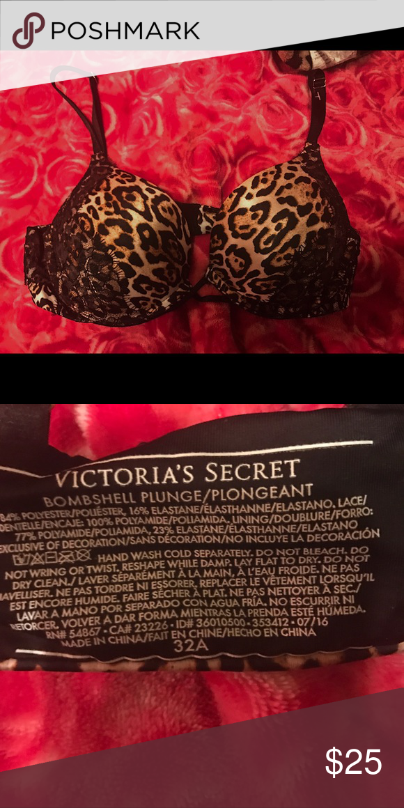 3193e56a82a Bombshell Bra PERFECT CONDITION. NWOT. Leopard print lace bra from Victoria  secret. Adds 2 cups. Lace and leopard details. Size 32A. Victoria s Secret  ...