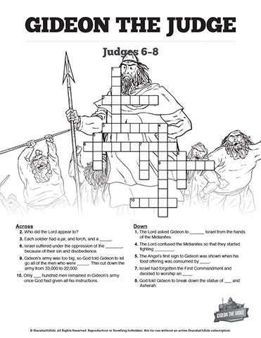 Judges 6 Gideon And The Fleece Sunday School Crossword Puzzles