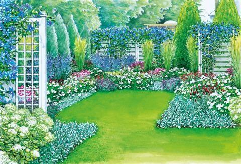Farbenprächtiger Sichtschutz - reihenhausgarten vorher nachher
