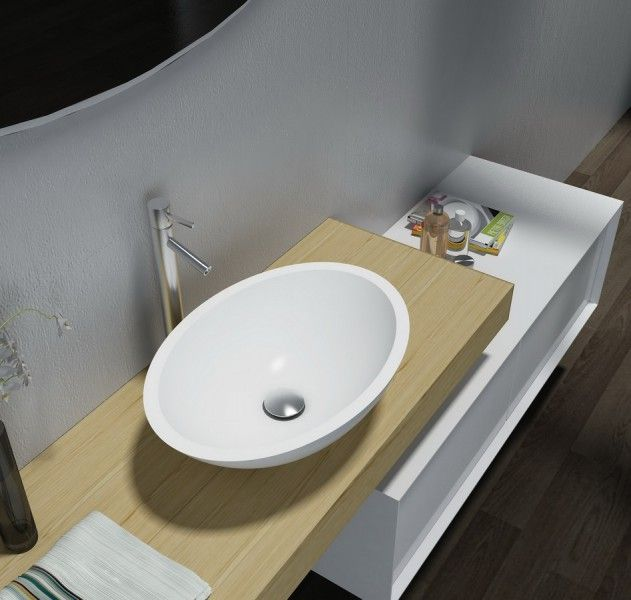 mineralguss aufsatzbecken waschbecken oval pb2106 50x35x15cm pure acrylic badewelt. Black Bedroom Furniture Sets. Home Design Ideas