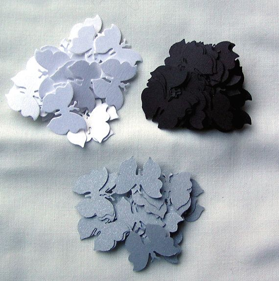 100 Die Cut Butterflies  Monochrome by SunnyCollectables on Etsy, £1.50