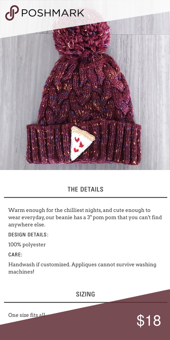 Pizza beanie Like-new burgundy beanie by Bow & Drape with sequined pizza embellishment ... because we all need more 🍕! Anthropologie Accessories Hats