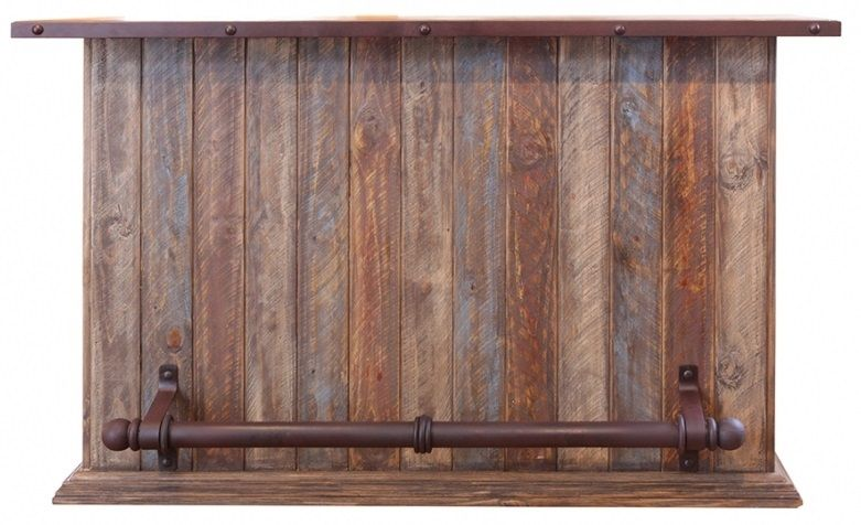 Multicolor Bar With Iron Footrest Home Bar Furniture Antique Bar Wood Bars