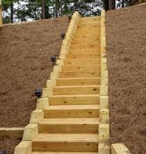 Landscape Timber Stairs Google Search Landscaping On A Hill Landscape Stairs Landscape Steps