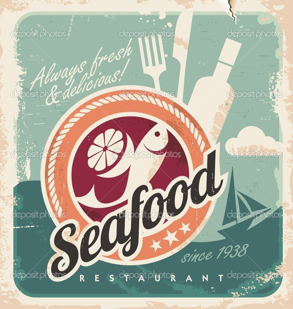 Poster design vector graphics - Graphic Design Inspiration Vintage Poster For Seafood Restaurant Retro Vector Old Paper Background With Fish And Food