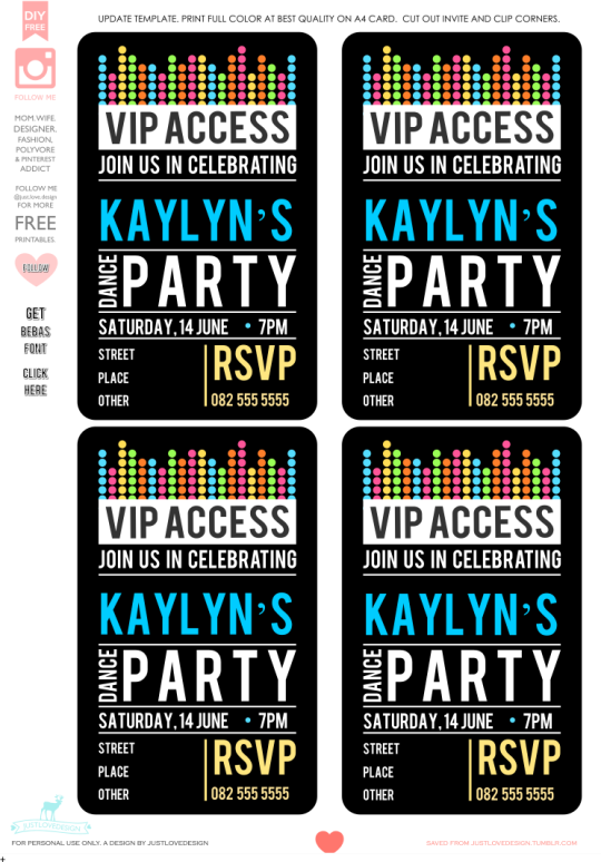 Kaylyn\'s Dance Party Invite - these came out so well! DIY FREE VIP ...