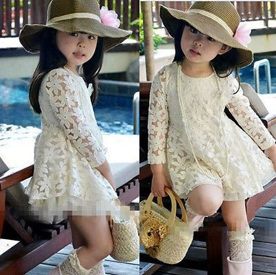 Cute Kids Baby Girls Wedding Party Lace Full Dress Princess Skirts Clothes LXJ | eBay