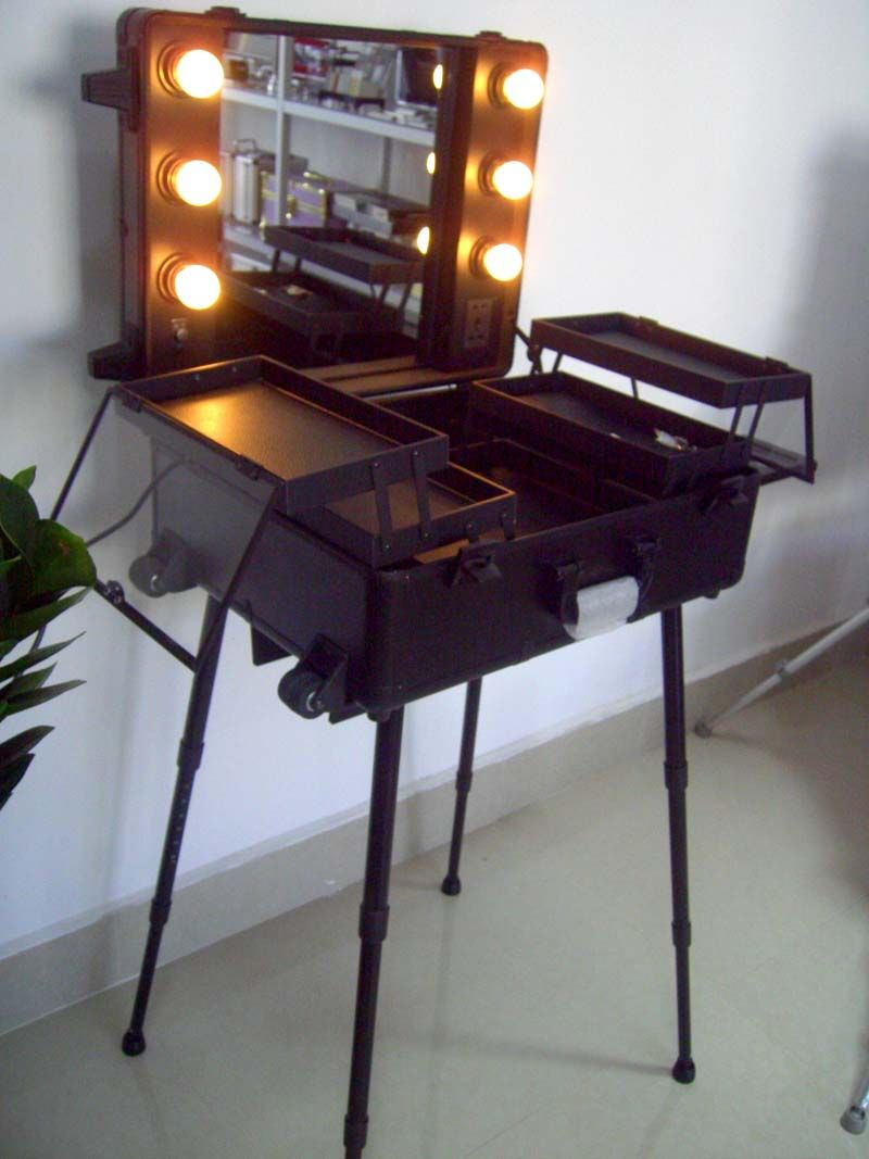 Professional Cosmetic Trolley Case With Lamp Makeup Case