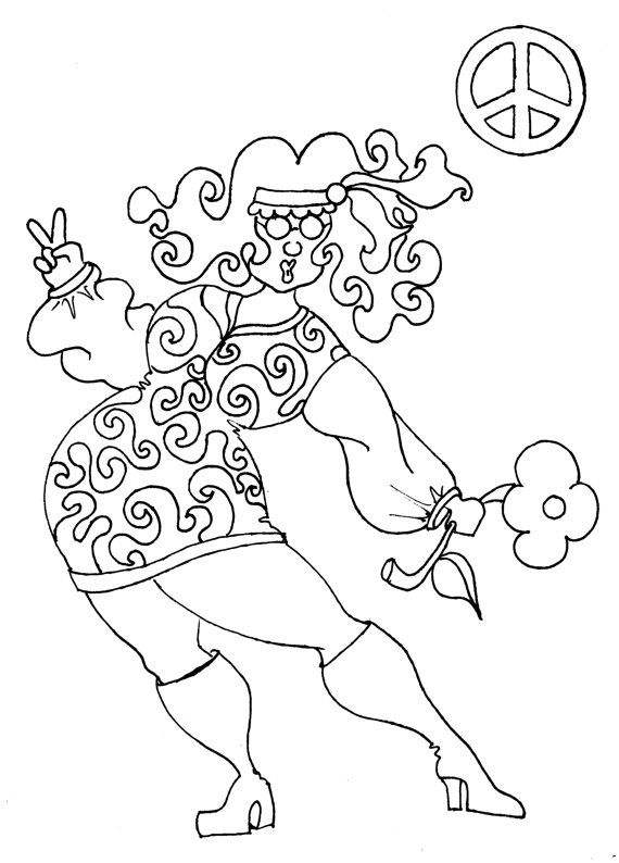 Hippie drawings sketch coloring page for Hippie coloring book pages