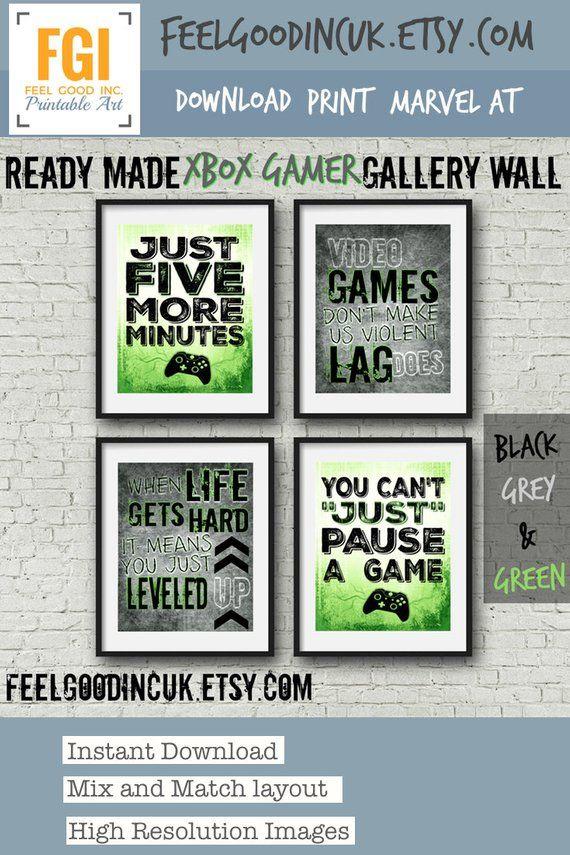 SET OF FOUR Video Game Posters  Neon Green  8x10  A4  Xbox Controller  Xbox Bedroom  Gamer  Teen boy bedroom  game room wall art is part of bedroom Teenage Scandinavian - Donna FGI