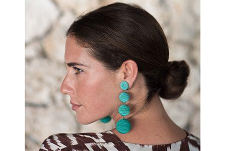 Designer Rebecca De Ravenel Wearing Her Les Bonbons Ball Drop Earrings Which Are Handmade In India