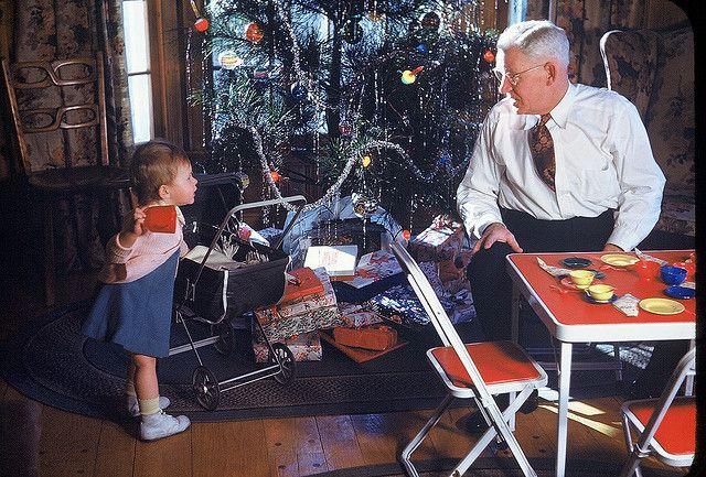 Jan Grandpa Reed And The Tree Christmas 1948 Vintage Christmas Photos Christmas Photograph Old Christmas