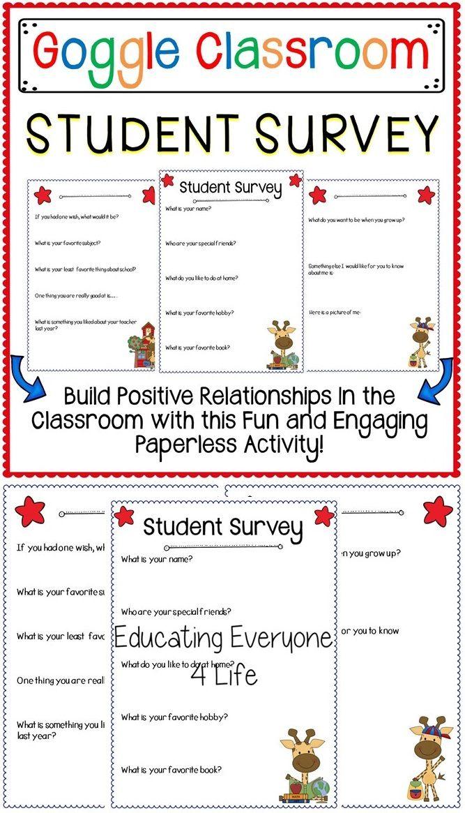 Student Survey for Google Classroom a Digital Classroom Resource - student survey