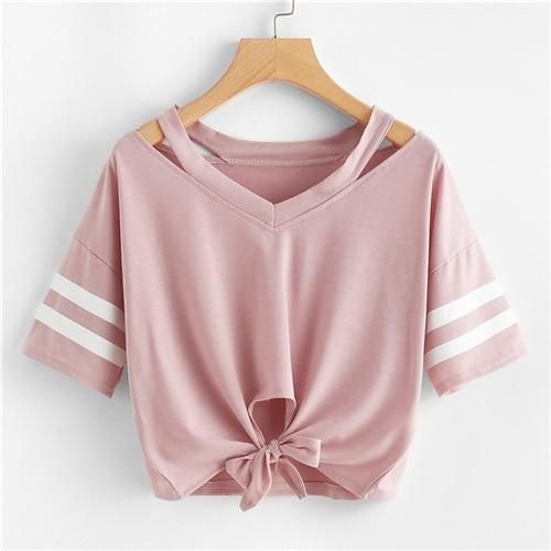 SHOP CUT OUT NECK VARSITY STRIPED KNOT FRONT TEE ONLINE.OFFERS CUT OUT NECK VARSITY STRIPED KNOT FRONT TEE & MORE TO FIT YOUR FASHIONABLE NEEDS.CUT OUT NECK VARSITY STRIPED KNOT FRONT WOMEN.  women  tshirts  croptop