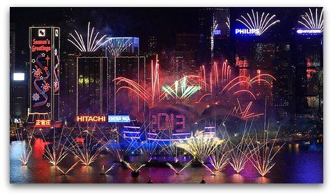 Hong Kong New Year Countdown And Fireworks New Years Countdown New Year Fireworks Fireworks