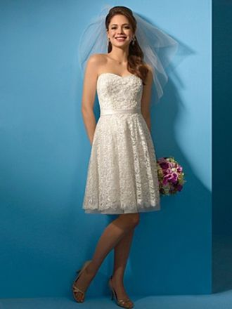 A-line Sweetheart Lace Knee-length Sashes / Ribbons Wedding Dresses ...