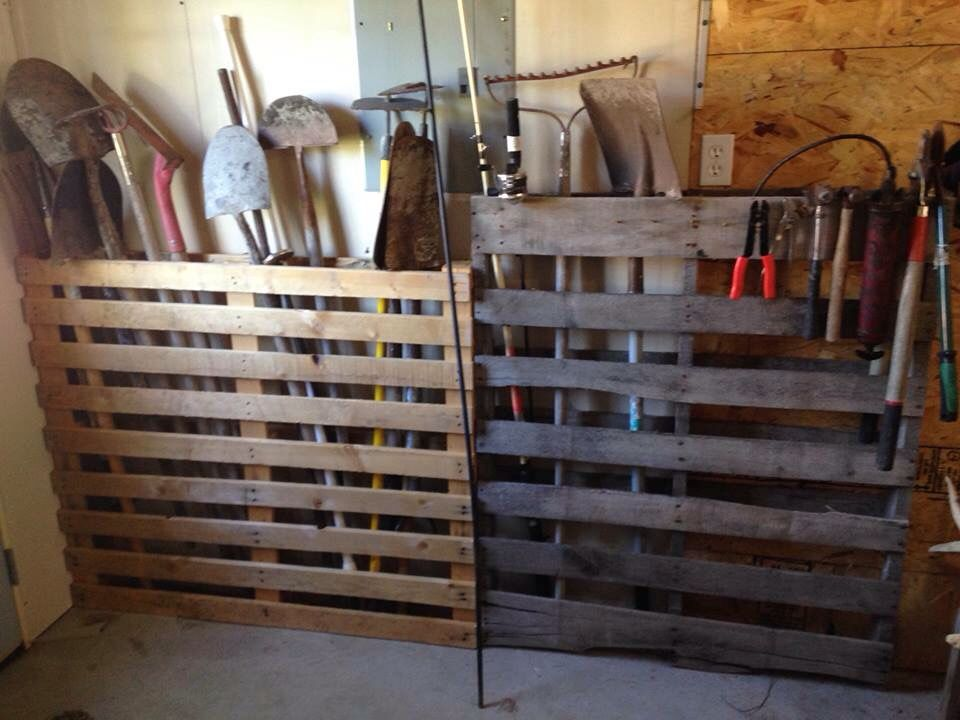 Pallet Storage Idea For Long Handled Tool Etc In The Garage Or Shed Storage Shed Organization Shed Storage Garden Tool Storage