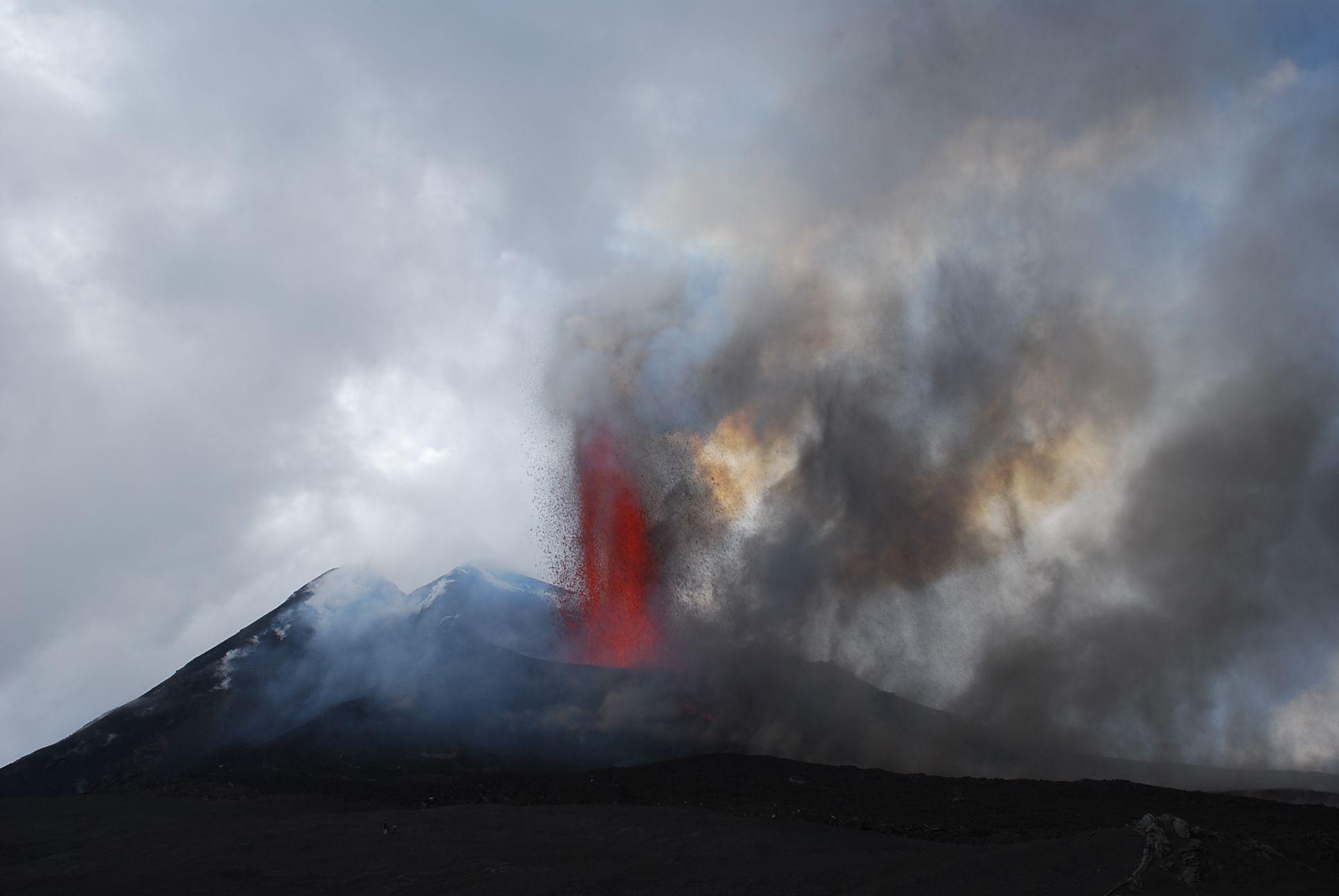 Mount Etna Eruption 04 09 2007 Vulcano Etna Sicily Italy