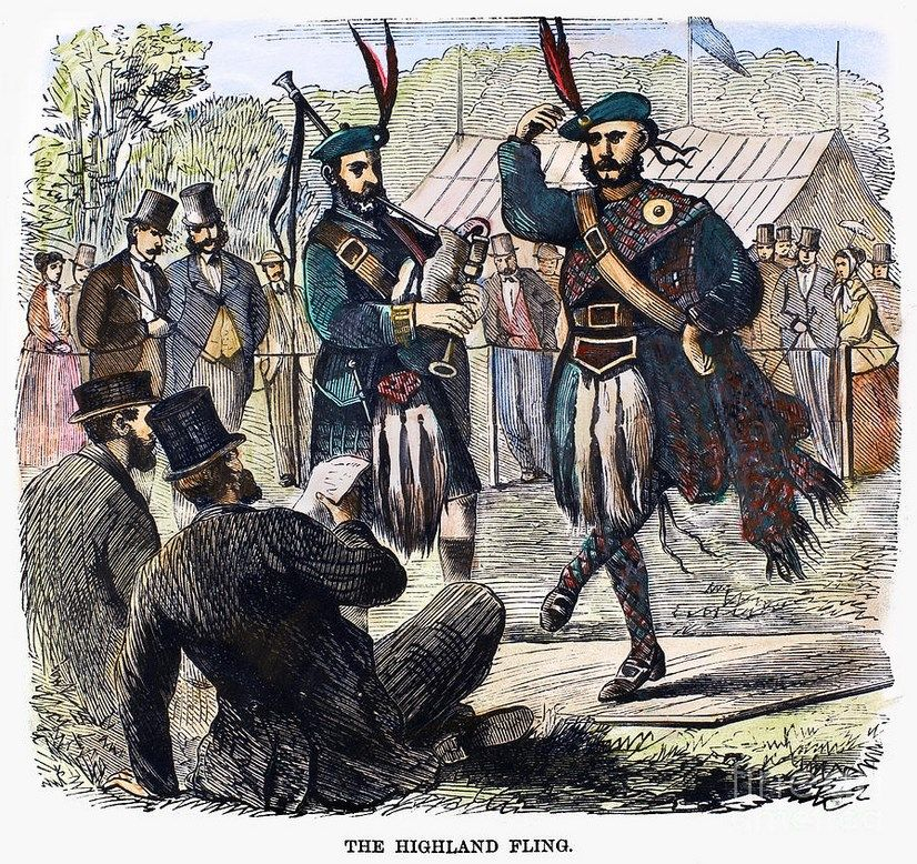 SCOTTISH GAMES, 1867. A performance of the Highland Fling during the Scottish Games at Jones' Wood, New York City, sponsored by the New York Caledonian Club, 1 July 1867. Contemporary American wood engraving.