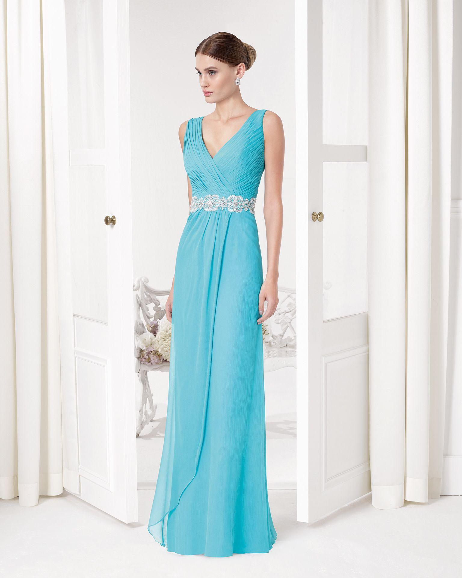 Vestido Azul con escote cruzado y cinturón. Código: 9u298 | Vestidos ...