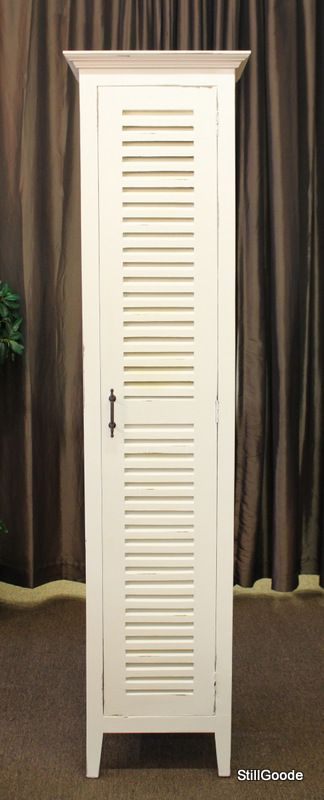 Tall And Narrow White Cabinet With Shutter Louvered Door 5