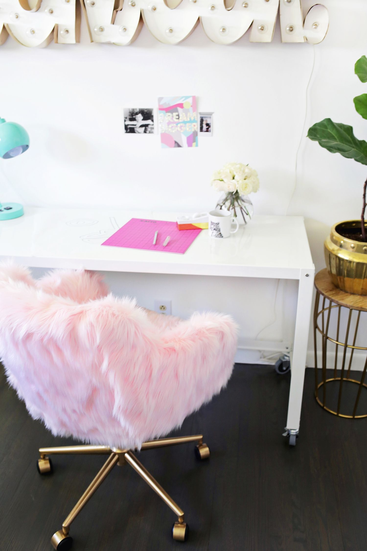 Pink Fluffy Desk Chair Office Chair Makeover Chair Makeover Pink Desk Chair