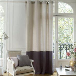 rideau bicolore pur coton aguri rideau pour baie vitr e deco fenetre et oeillet. Black Bedroom Furniture Sets. Home Design Ideas