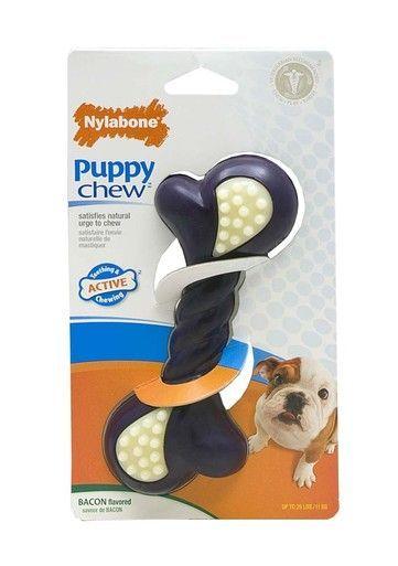 Nylabone Puppy Double Action Purple Bacon Flavor Teething Chew